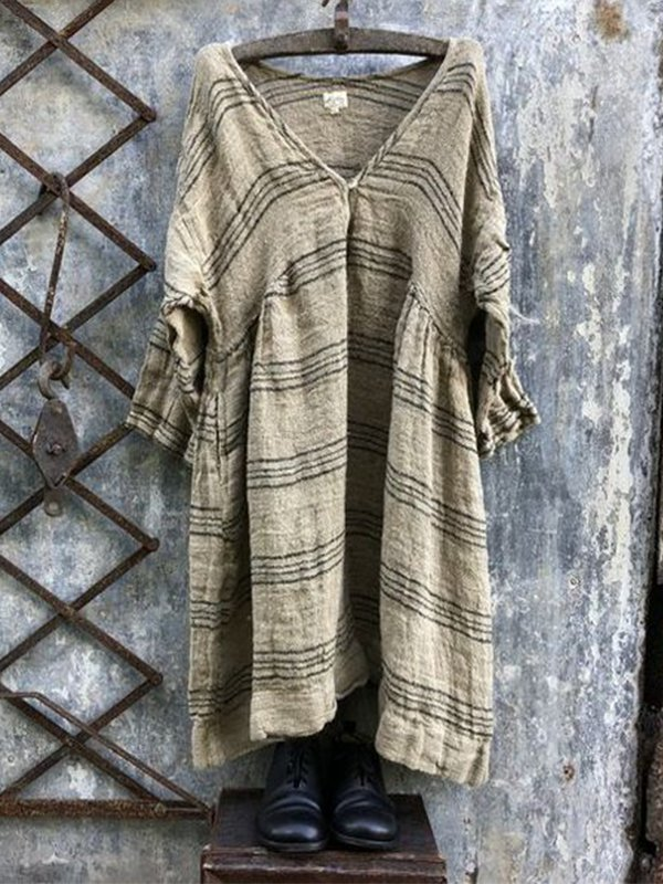 Casual Linen V-Neck 3/4 Sleeve Striped Plus Size Bat Sleeve Tops