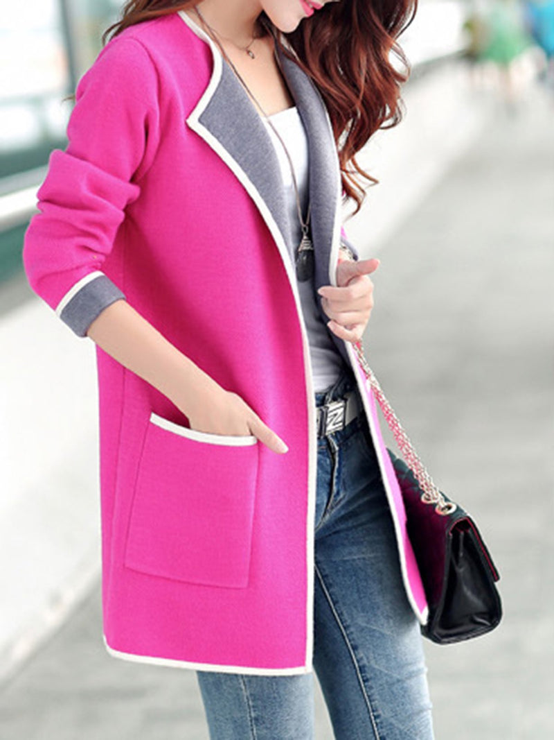 Shawl Collar Pockets Long Sleeve Pockets Paneled Plus Size Coat