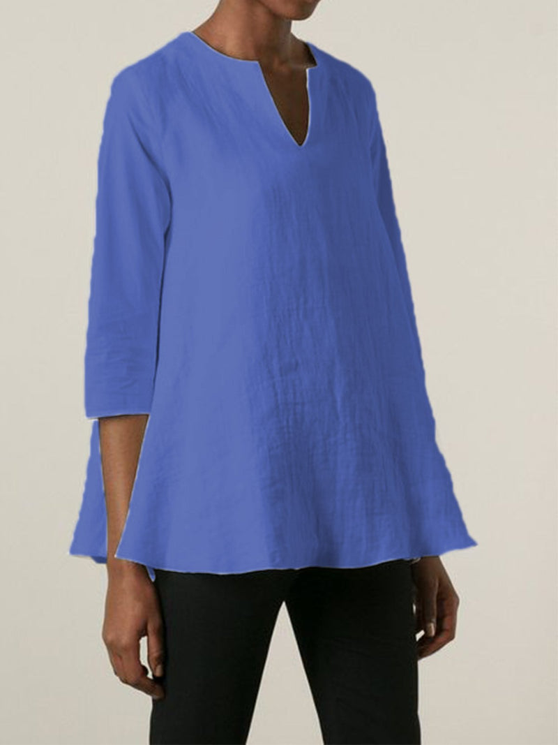 V Neck 3/4 Sleeve Linen Shirts & Tops