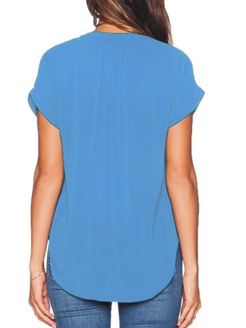 Women Short Sleeve V neck Shirts Blouse