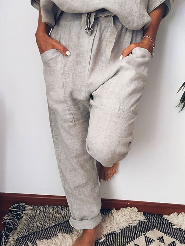 Women 5 Colors Linen Pants Solid Pocket