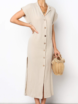 Elegant Buttoned Down Short Sleeve Dress