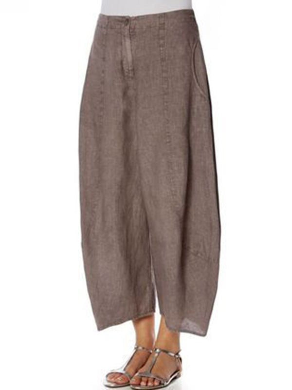 Solid Casual Loose leg Pants