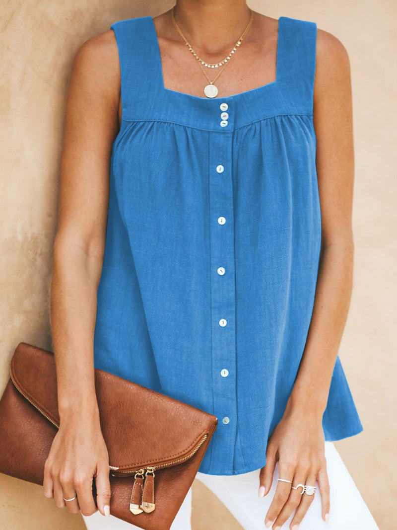 Summer Buttoned Pleated Square Neck Sleeveless Tops