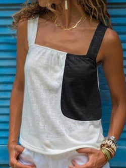 Summer Tops Color-block Sleeveless Camis