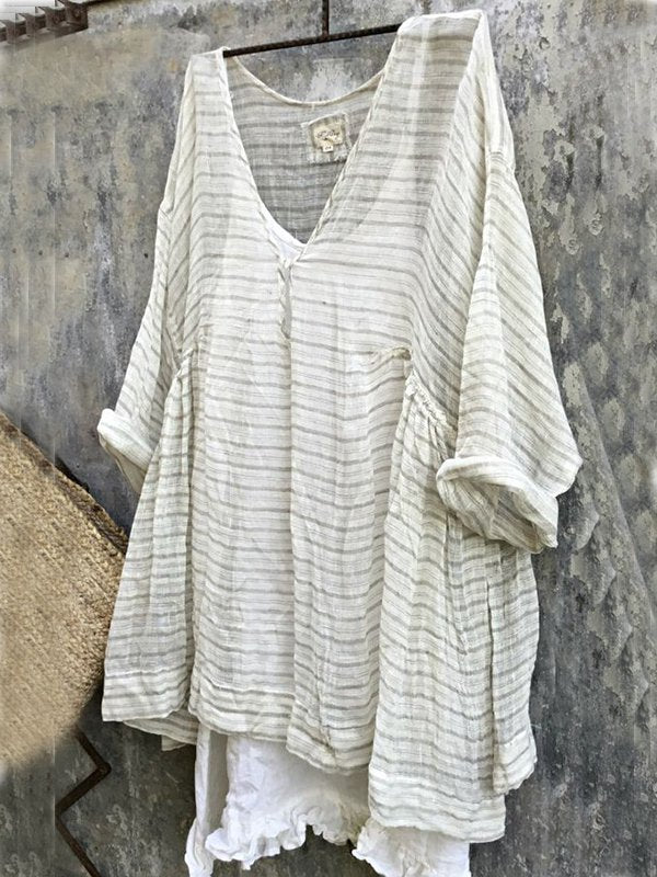 Casual Plus Size 3/4 Sleeve V Neck Striped Bat Sleeve Tops