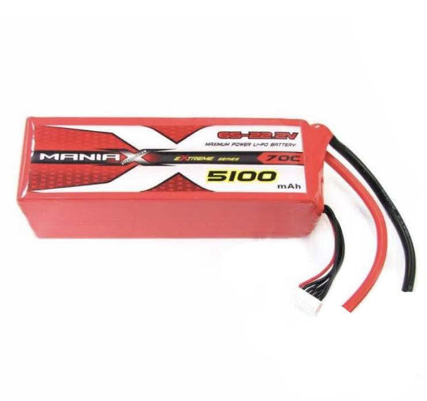 ManiaX 22.2V 6S 5100mAh 70C Lipo Battery AS150