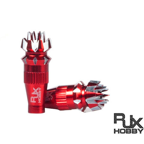 RJX 3mm Metal Transmitter Stick Anti-slipping Caps for Futaba, VControl, Spektrum Transmitter  RED