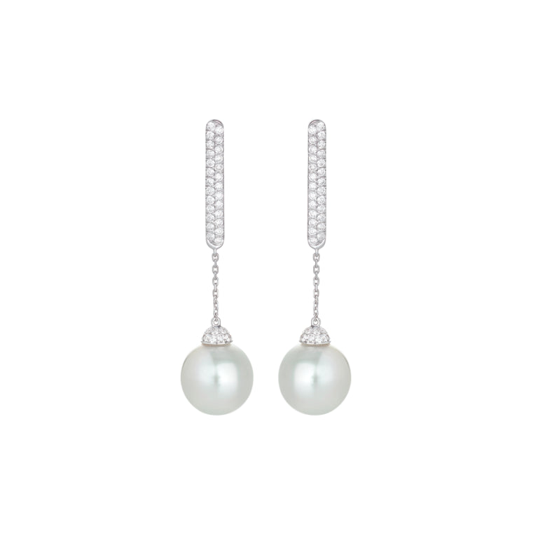 boucles d'oreilles alessandra dona perles blanches pavage diamants