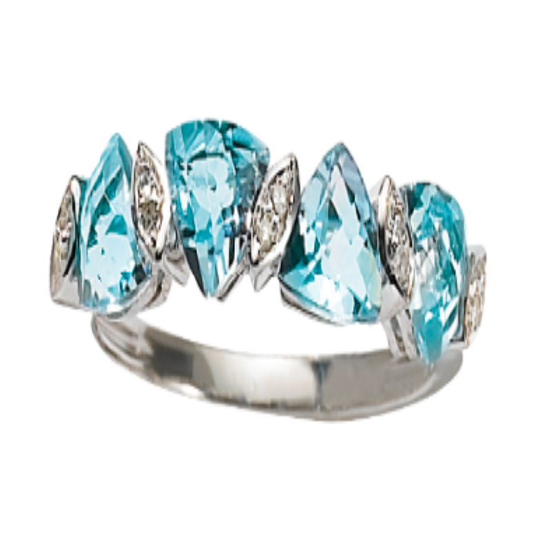 Bague style alliance originale topage bleue troïdia diamants