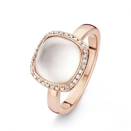 Bague One More en or rose 18 carats Topaze blanche sur nacre et diamants blancs