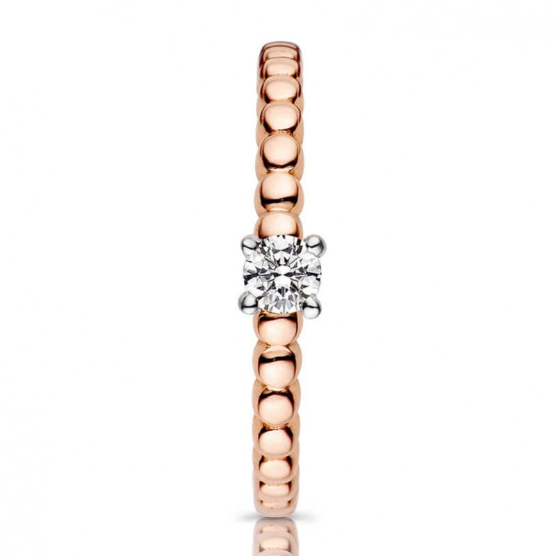 Bague One More en or rose 18 carats Diamant blanc solitaire sur or blanc