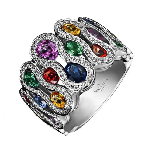 "Bague Waskoll ""Flamme"" en or blanc 18 carats Saphirs multicolores et diamants"