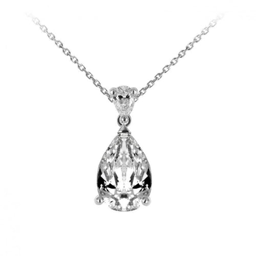 Collier Waskoll en or blanc 18 carats Pendentif diamants taille poire et diamants ronds