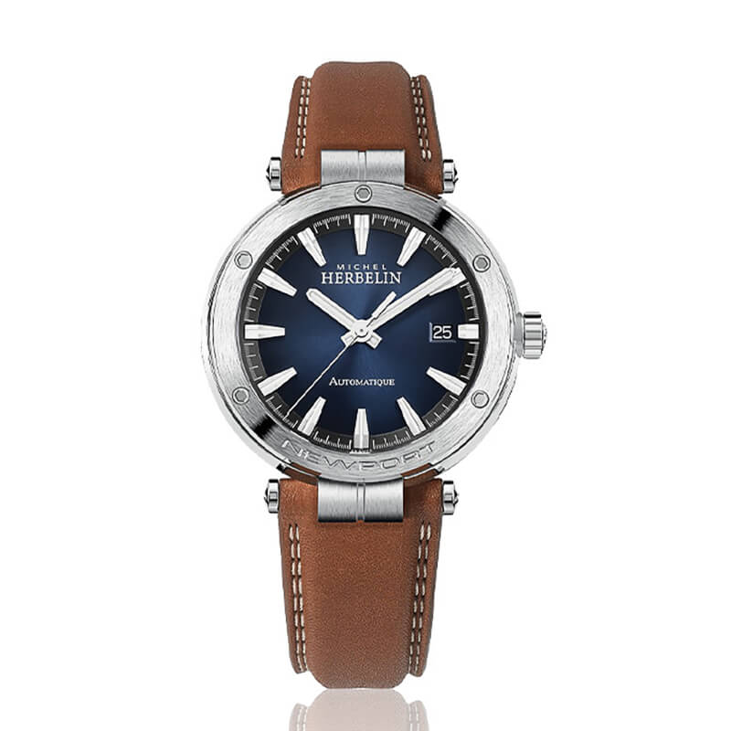 montre newport automatique cadran bleu sur bracelet marron surpiquet