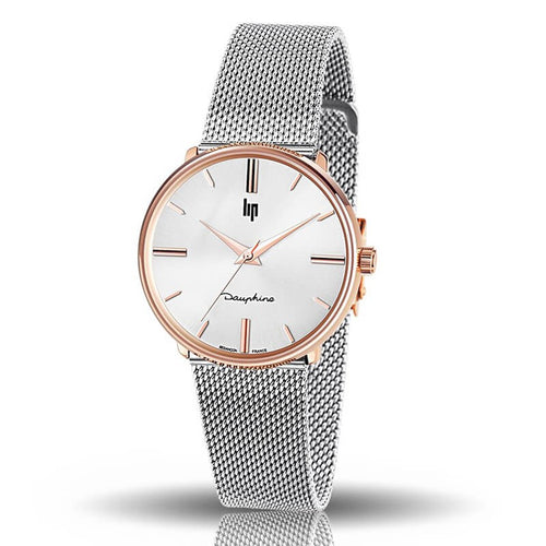 "Montre Lip Collection ""Dauphine"" 34mm bracelet acier"