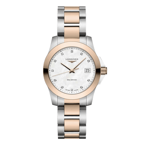 montre longines conquest nacre et diamants revêtement pvd or rose