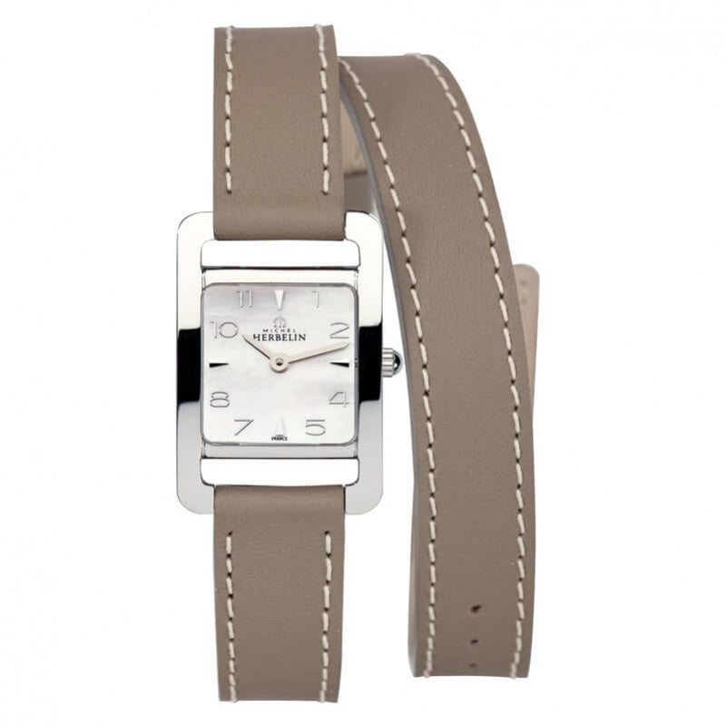 montre michel herbelin 5eme avenue bracelet taupe double tour
