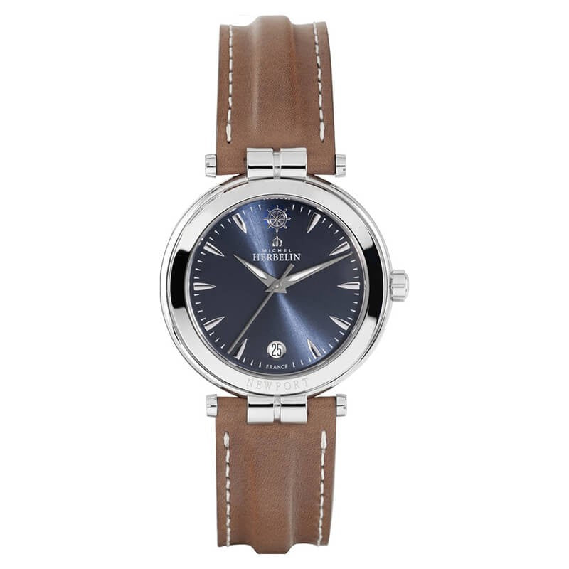 Montre Michel Herbelin Newport  bracelet cuir marron