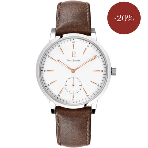 montre pierre lannier index roses sur bracelet marron  215k104