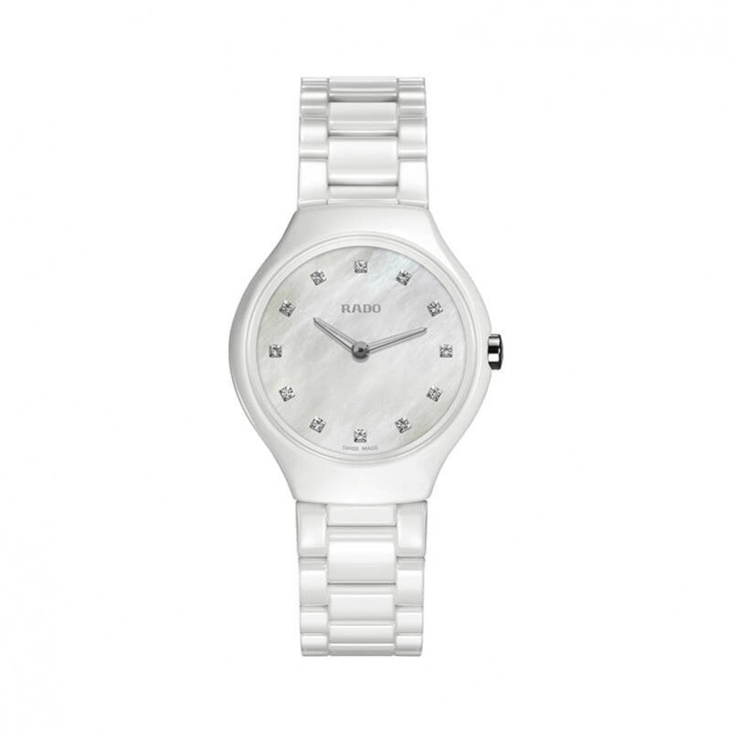 Rado True Thinline Quartz Céramique blanche et diamants