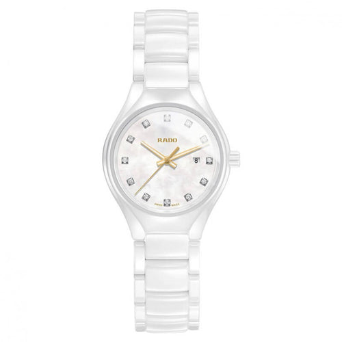 Rado True Quartz Diamants Nacre et Céramique Blanche