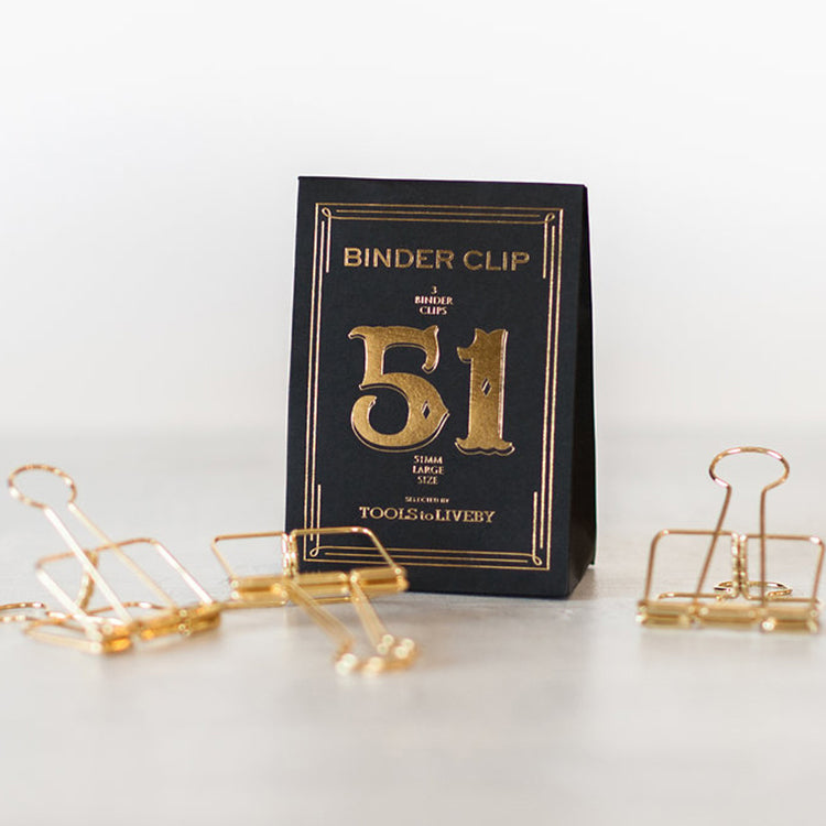 Tools to LiveBy Binder Clips 51mm Gold