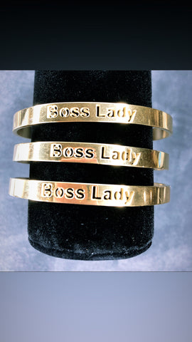 Boss Lady Engraved Cuff Braclet