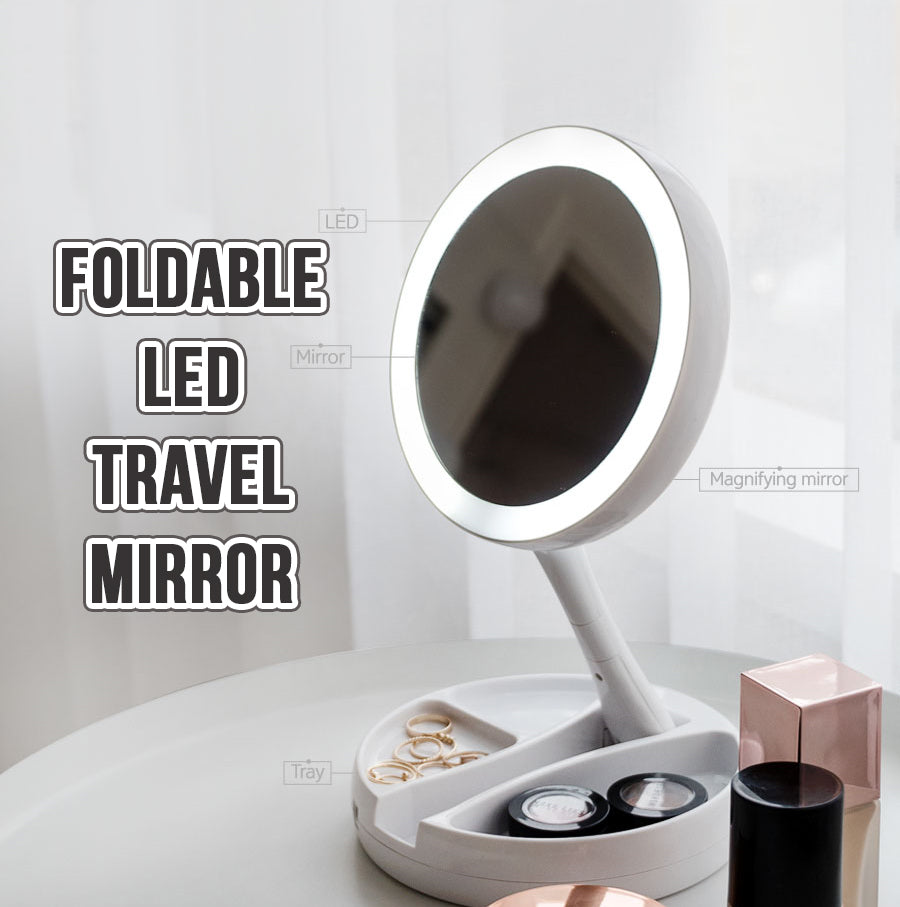 Foldable LED Travel Mirror