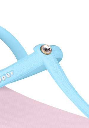 Swarovski x Fipper Strappy Rubber for Women in Pink (Light) / Blue (Sky)