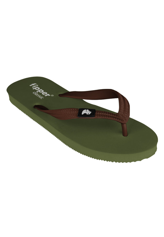 Fipper Classic Rubber for Unisex in Green (Army) / Brown (Dark)
