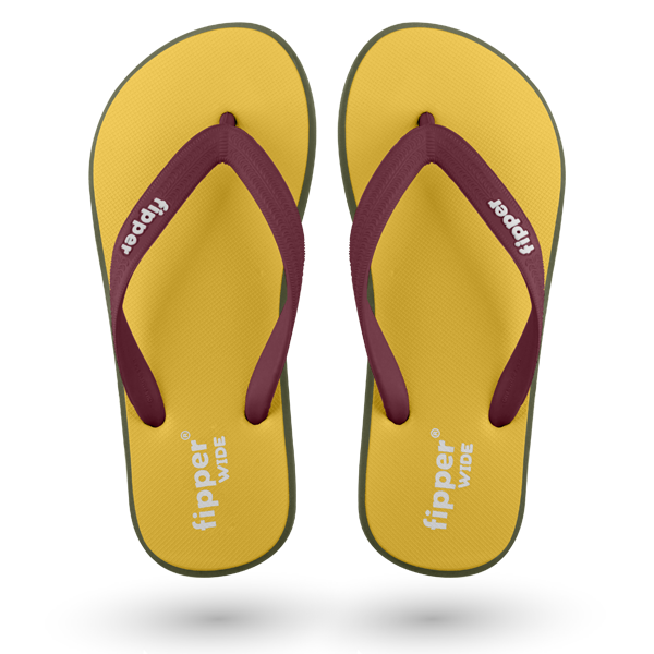Fipper Wide Yellow / Green (Army) / Maroon