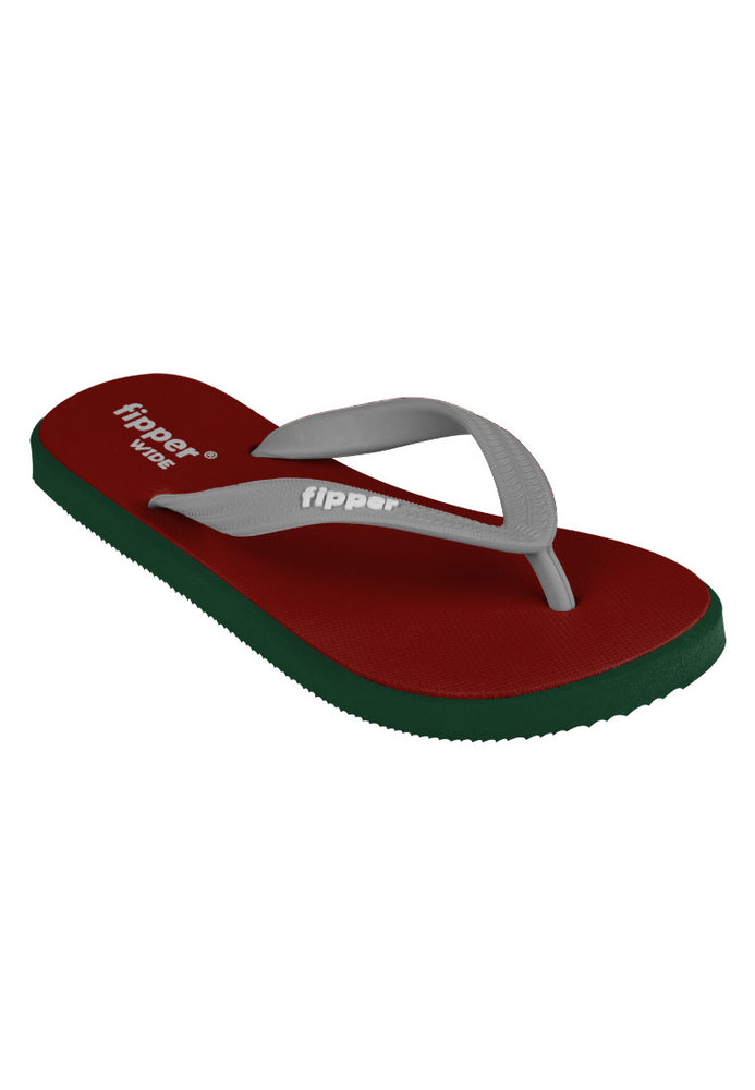 Fipper Wide Maroon / Green (Emerald) / Grey