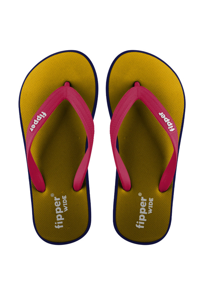 Fipper Wide Rubber for Unisex in Mustard / Navy / Red (Ruby)