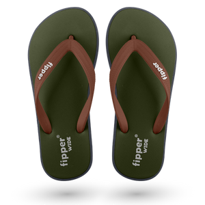 Fipper Wide Green (Army) / Grey (Dark) / Brown (Dark)