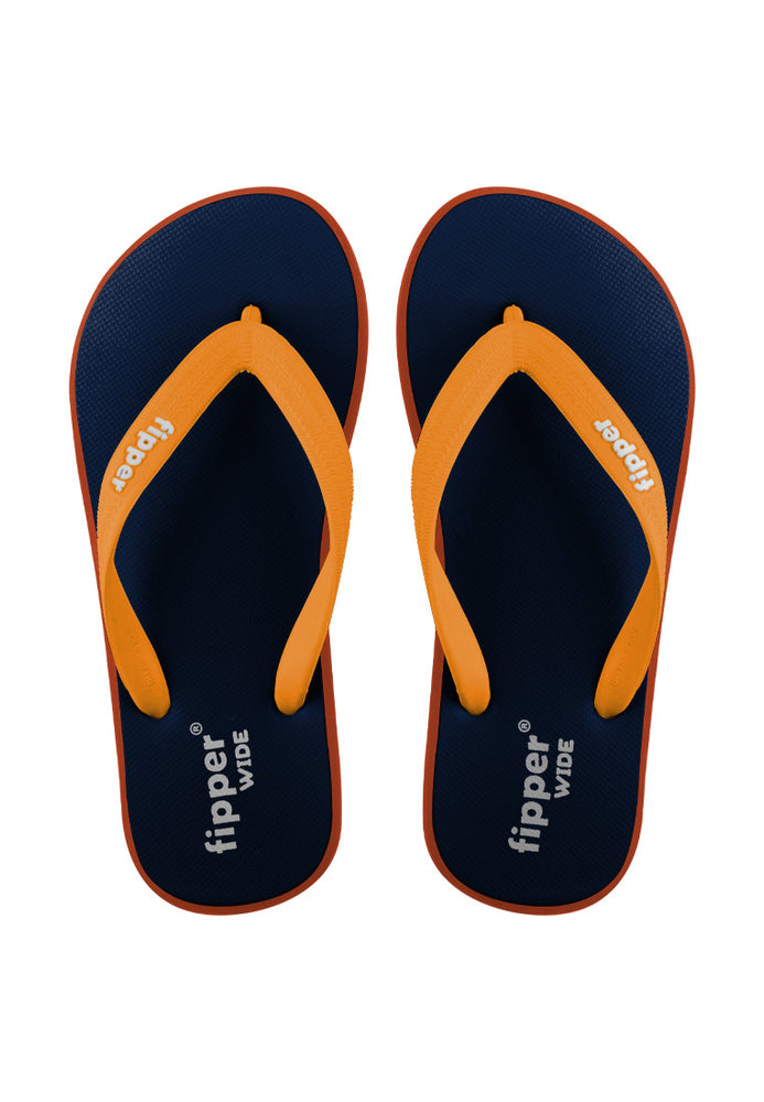Fipper Wide Rubber for Unisex in Navy / Orange / Mustard