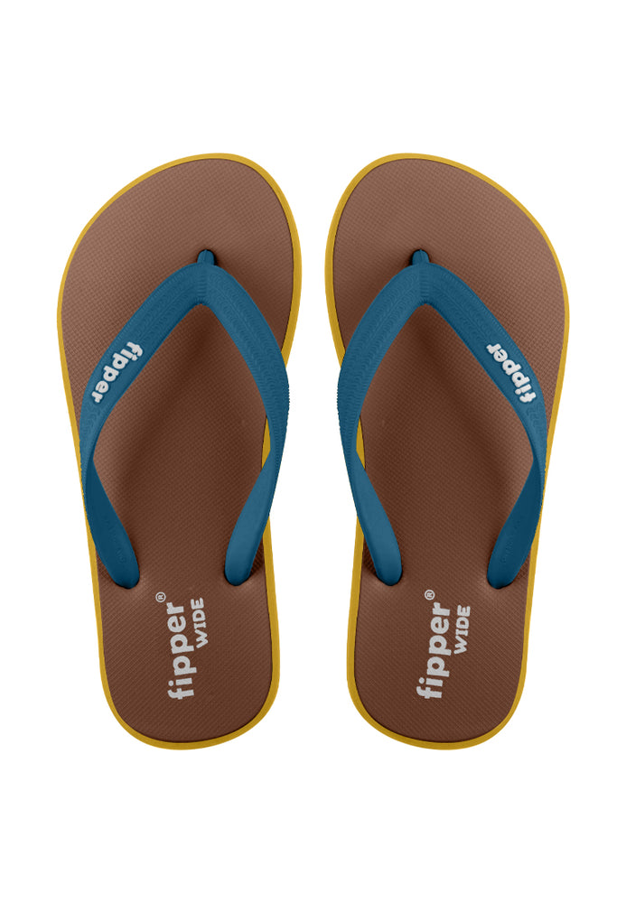 Fipper Wide Brown / Yellow / Blue (Snorkel)