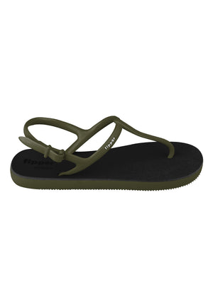 Fipper Strappy Black / Green Army