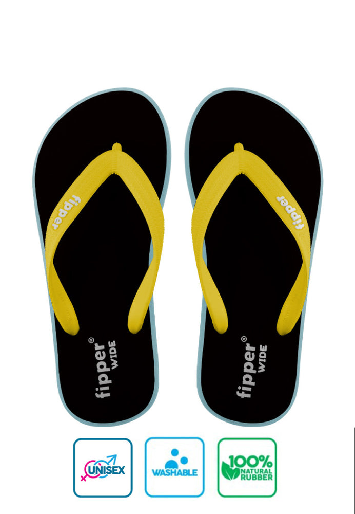 Fipper Wide Rubber for Unisex in Black / Blue (Echo) / Yellow