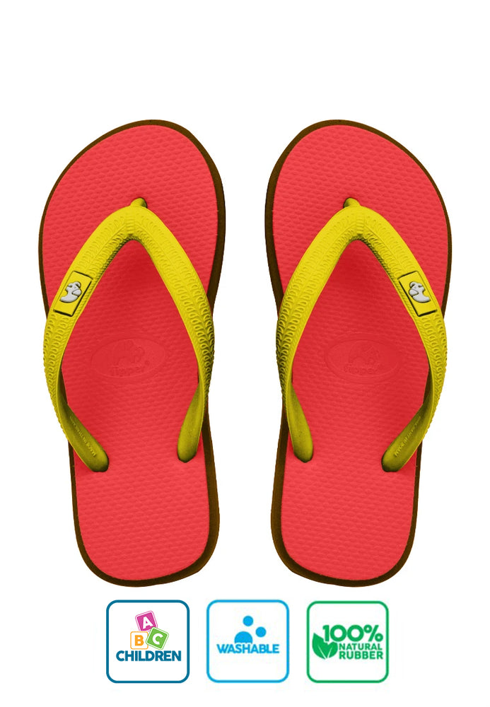 Fipper Kids Red / Brown (Dark) / Yellow