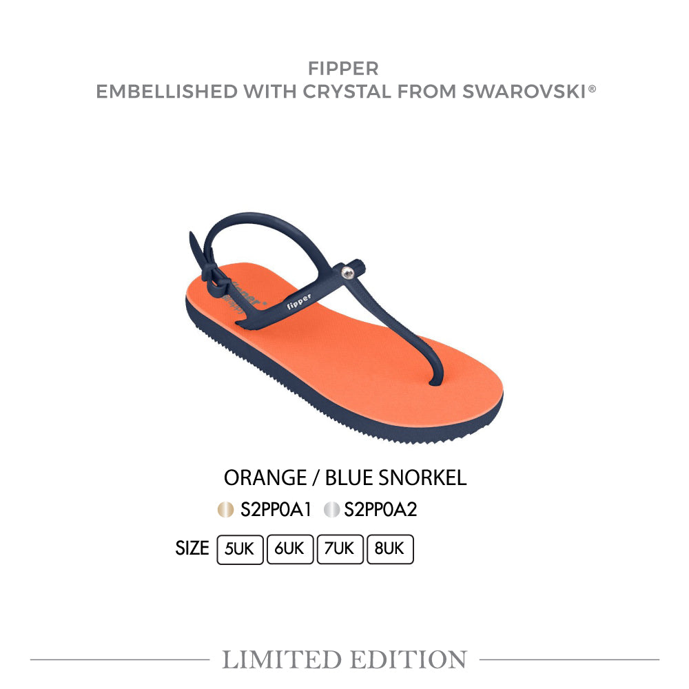 Swarovski x Fipper Strappy Rubber for Women in Orange / Blue (Snorkel)