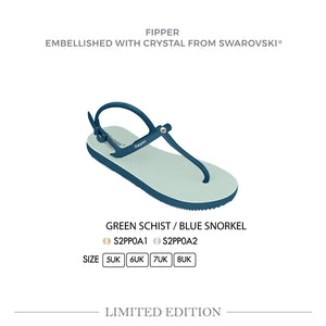 Swarovski x Fipper Strappy Rubber for Women in Green (Schist) / Blue (Snorkel)