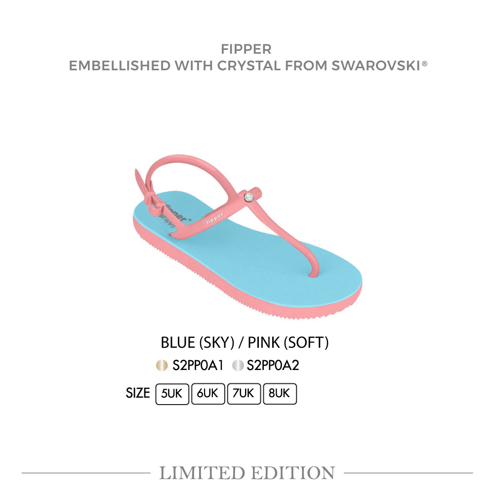 Swarovski x Fipper Strappy Rubber for Women in Blue (Sky) / Pink (Soft)
