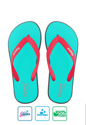 Fipper Wide Turquoise / Grey (Dark) / Red