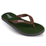 Fipper Wide Green (Army) / Grey (Dark) / Brown (Bean)
