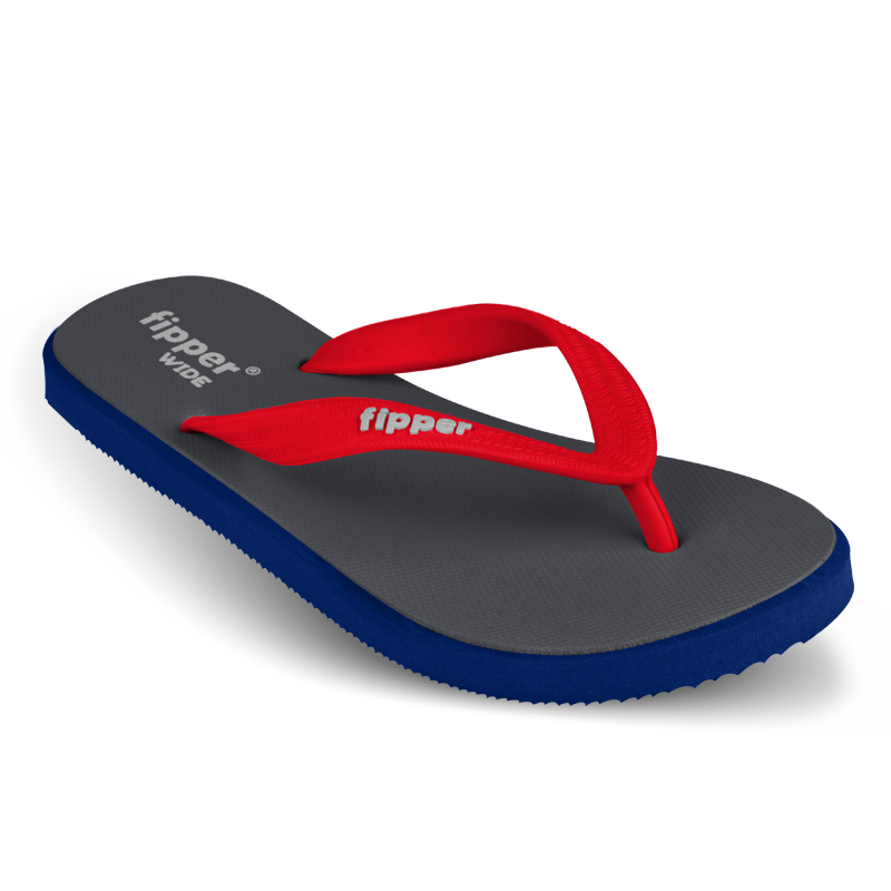 Fipper Wide Grey / Blue (Navy) / Red
