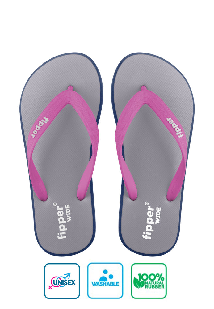 Fipper Wide Grey / Blue (Navy) / Magenta