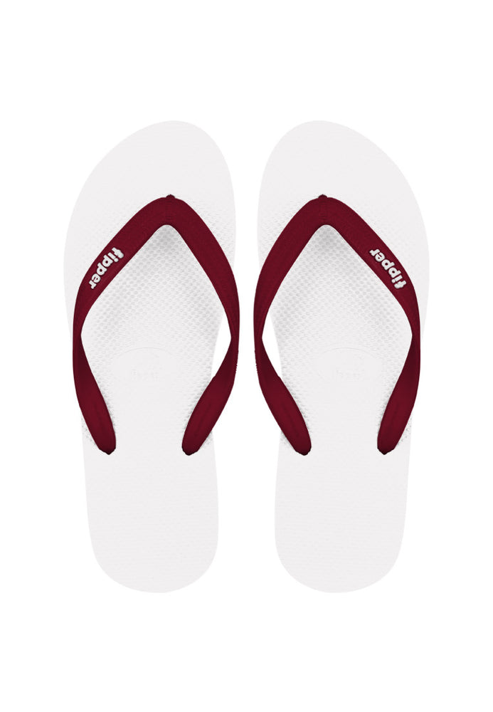 Fipper Slick Rubber for Unisex in White / Maroon