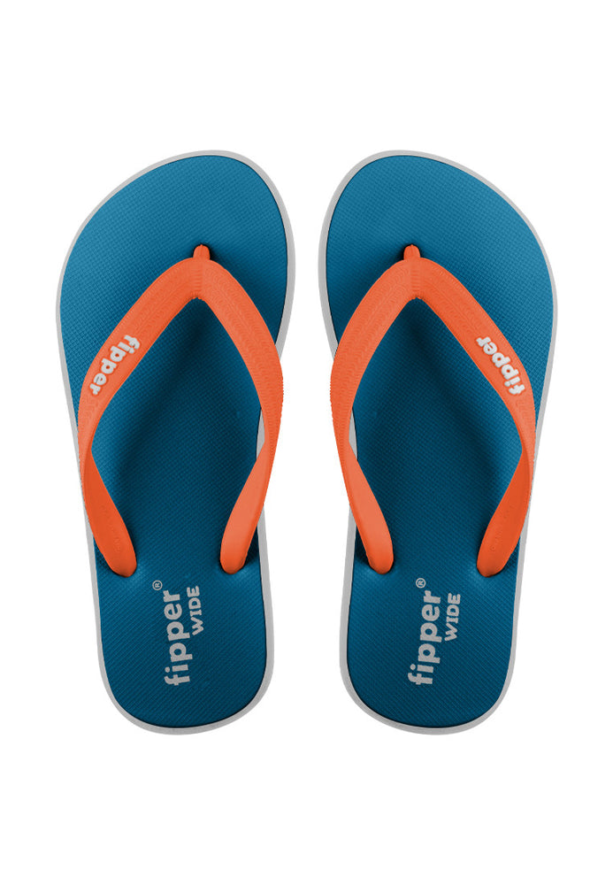 Fipper Wide Rubber for Unisex in Blue (Sky) / Grey / Orange