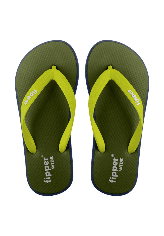 Fipper Wide Rubber for Unisex in Green (Army) / Navy / Green (Lime)